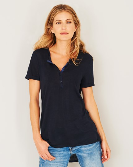 Linen Short Sleeve Henley Top