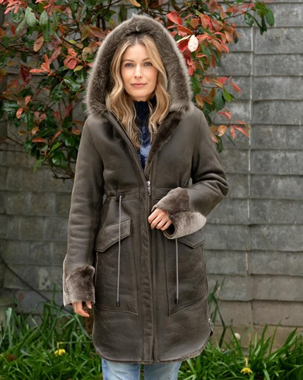 7623 Sheepskin Hooded Parka - Tanners Brown