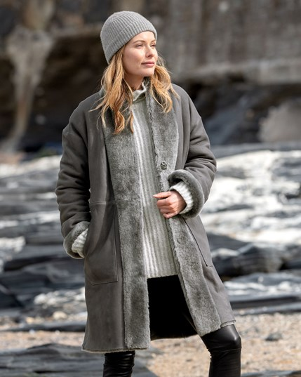 7746 Reversible Stand Collar Coat - Grey - Outside