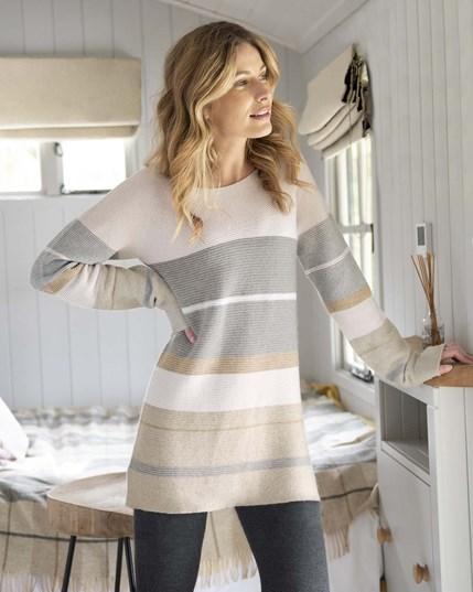 7216 Yoke Purl Stripe Tunic - Pink Grey Oatmeal