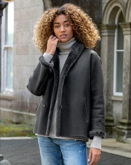 Reversible Sheepskin Jacket - Charcoal - 7795
