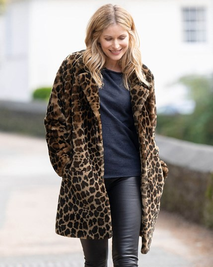 7685 Leopard Print Sheepskin Coat Leopard (Stock)