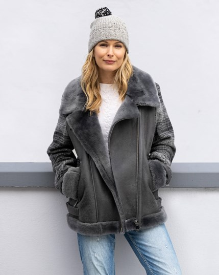 7827 Tweed & Sheepskin Biker Jacket Derby Grey