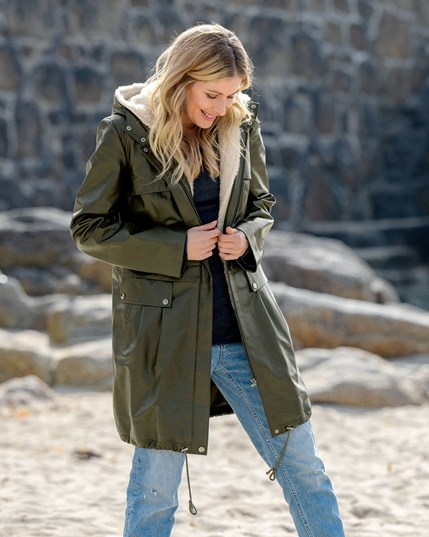 7828 Leather Parka with Removable Liner Olive