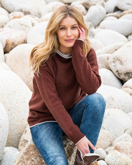 7400 Felted Funnel Neck Jumper Rust  Oatmeal (New)