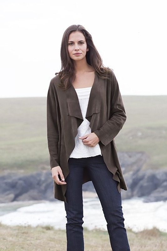 Suede Waterfall Coat