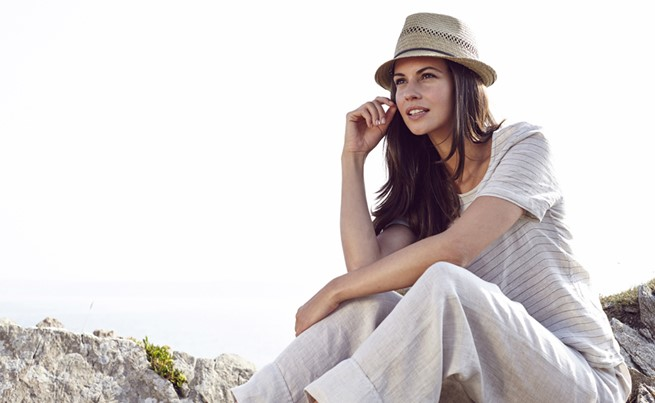 linen stripe top £85, laidback linen trousers £90, straw trilby £25 celtic and co.jpg