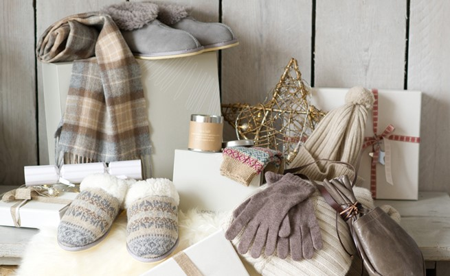lambswool scarf £30, sheepskin bootees £59, fair isle mules £45, sheepskin rug £75, fair isle socks £18, cashmere rib hat £65, cashmere gloves £38, tinder pouch £59 - celtic and co.jpg