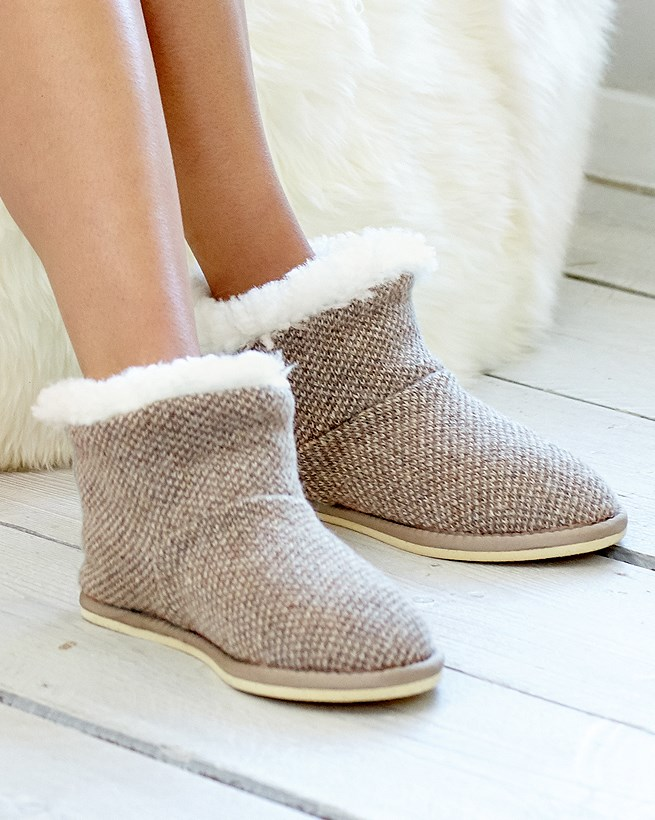 Super Sale Knitted Shortie Slippers Women Pebble
