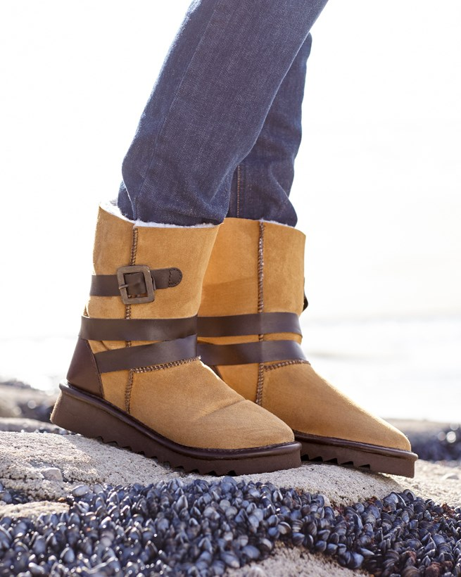 Buckle Strapped Sheepskin Boots