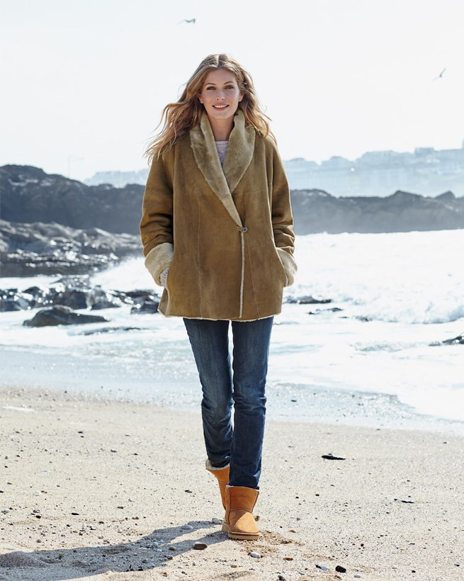 Shawl-collar Sheepskin Coat