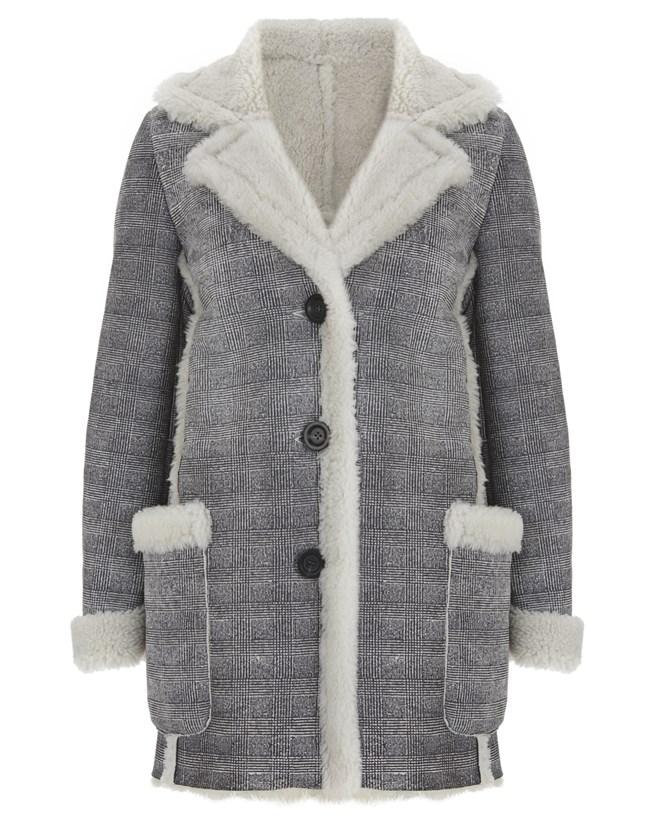 Printed Sheepskin Coat - Size 14 - Grey 638