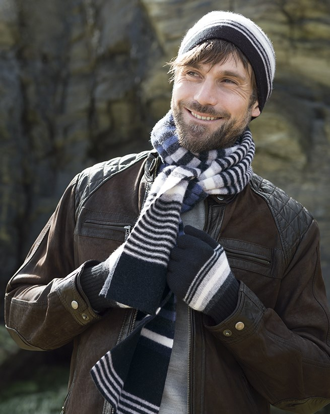 Men's Striped Lambswool Gloves