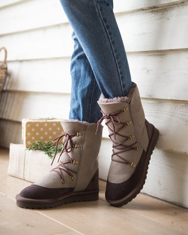 Shearling Lace-up Boots