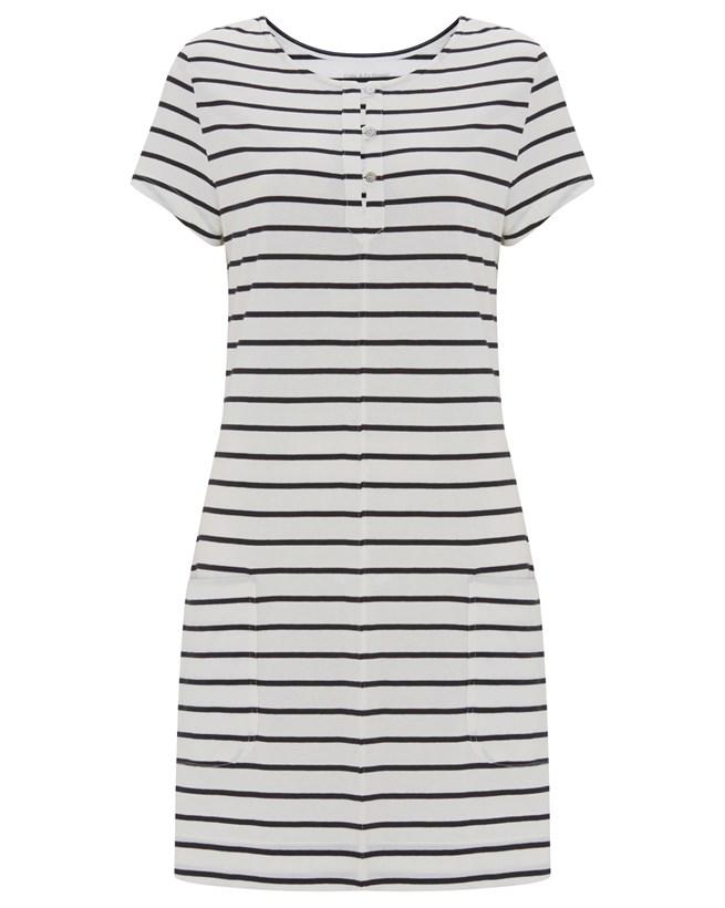 Organic Cotton Dress - Size 12 - Navy/Chalk Stripe - 895