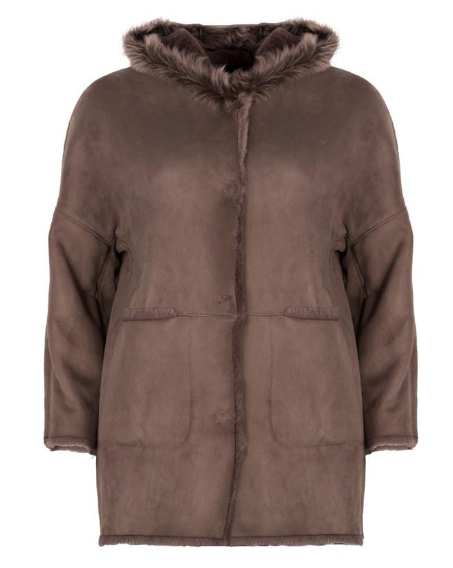 A-line Hooded Sheepskin 3/4 Coat - Size Medium 49