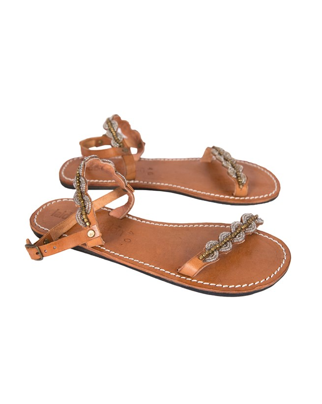 Laidback Beaded 2 Strap Sandal - Size 40 - Tan