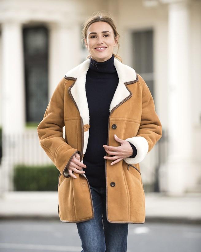 Leather Trim Sheepskin Jacket