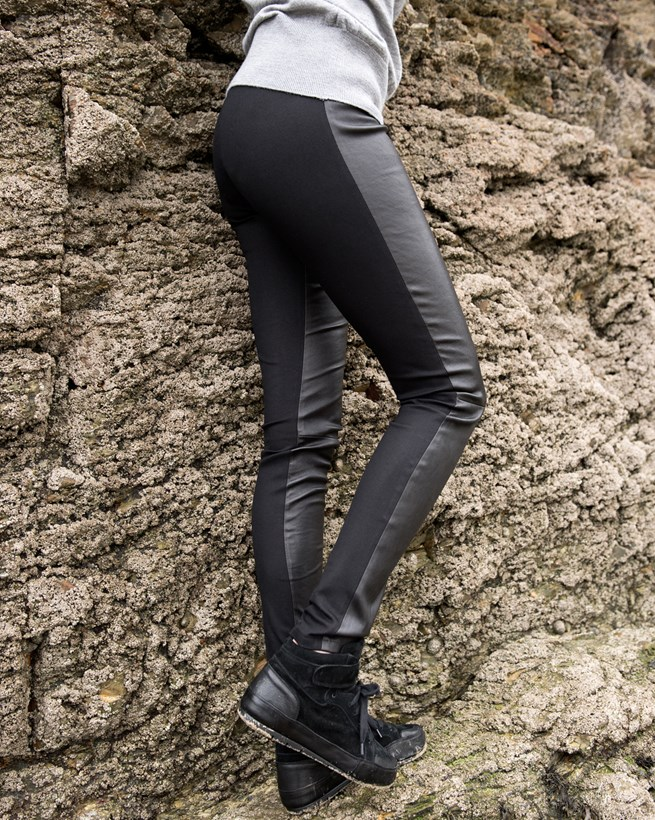 Gabardine Leather Leggings