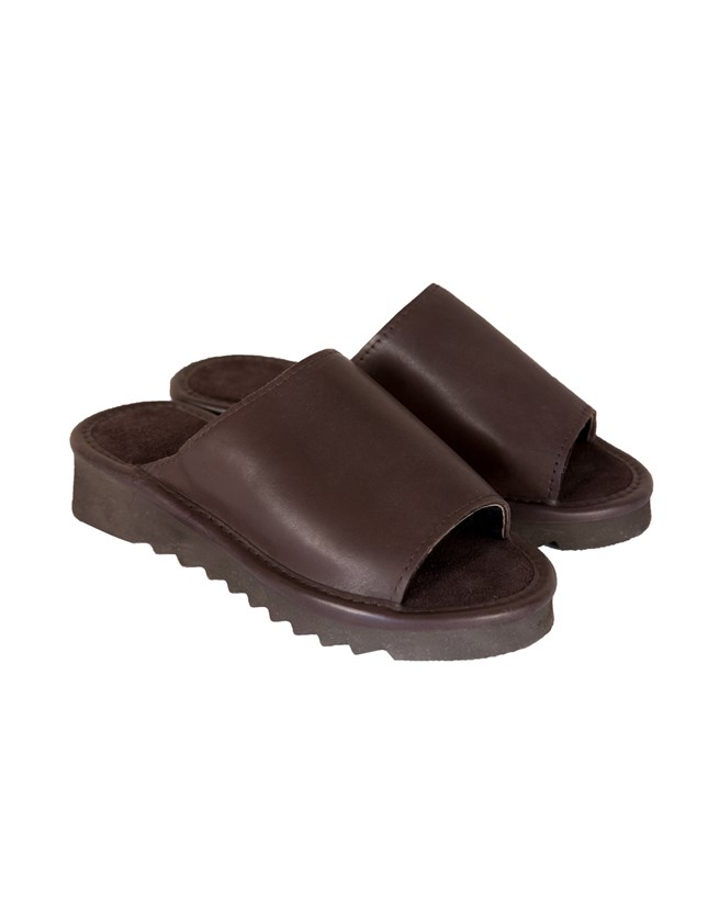 Wedge Sheepskin & Leather Open Toe Clog - Size 6 - Mocca