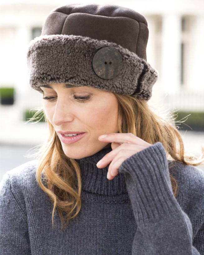 Sheepskin Button Hat
