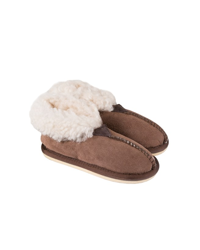 Kids Bootee Slipper - Size 7-8 - Mocca with white wool 176