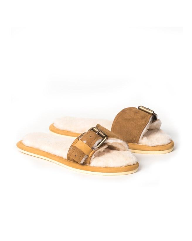 Buckle strap Sheepskin Slides – Size 9 – Spice - 107