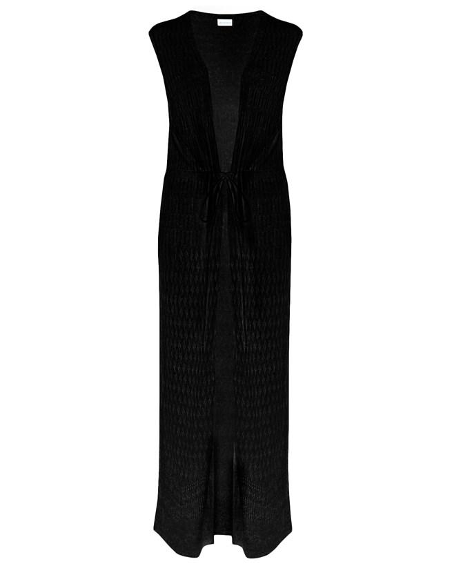 Sleeveless Pointelle Maxi Cardi - Size Small - Black