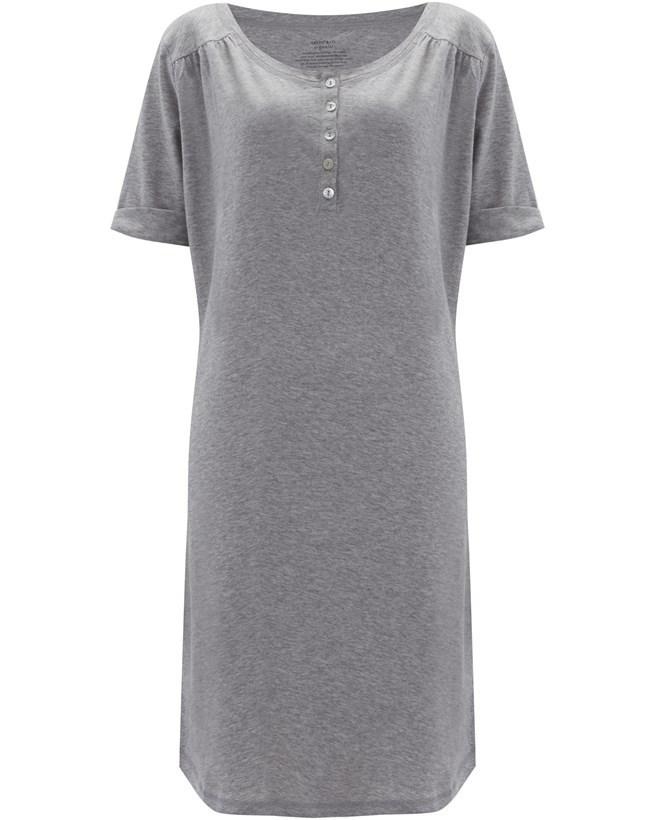 Organic Cotton Short Sleeve Nightie – Size 10 – Grey Marl