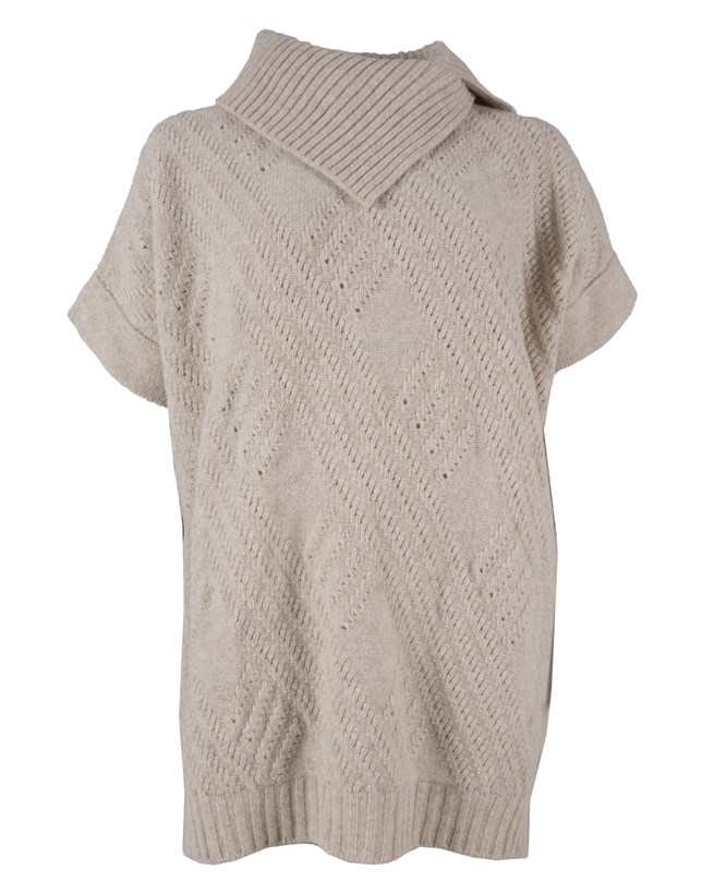 Pointelle Poncho Tunic - Medium - Oatmeal - 133