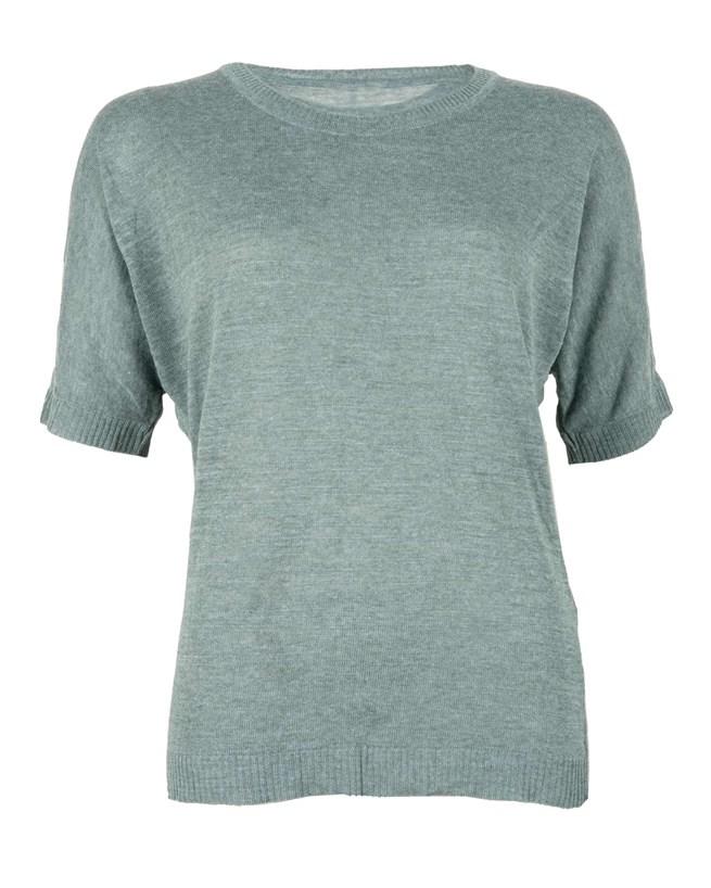 Linen Tshirt - Size Small - Aqua