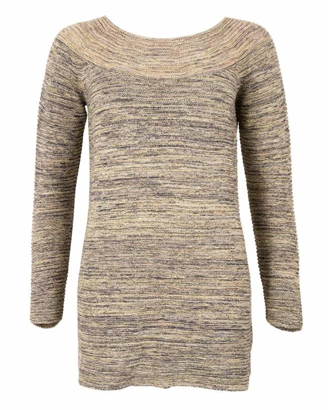 Yoke Detail Tunic - Size Small - Multi Grey/Yellow