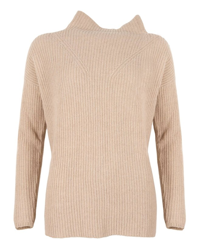 Funnel Neck Jumper - Size Small - Oatmeal