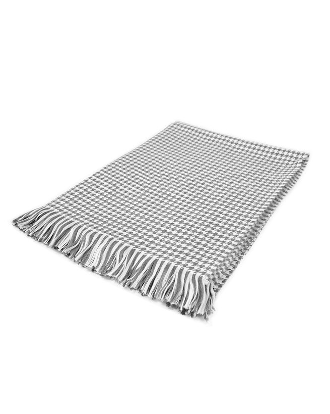 Beautifully Soft Lambswool and Merino Throw - Grey and White Dogtooth Check