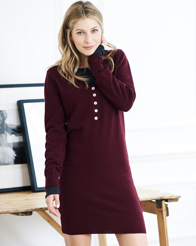 V-neck Henley Sweater Dress