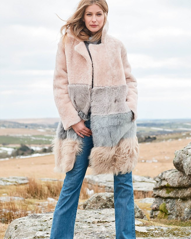 Sheepskin Colourblock Coat