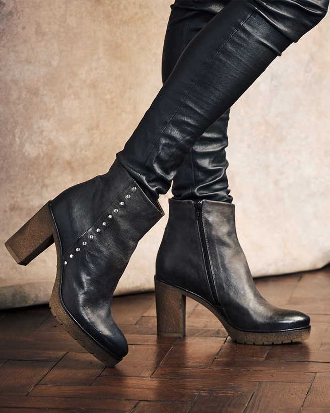 Studded Stack Heel Boots