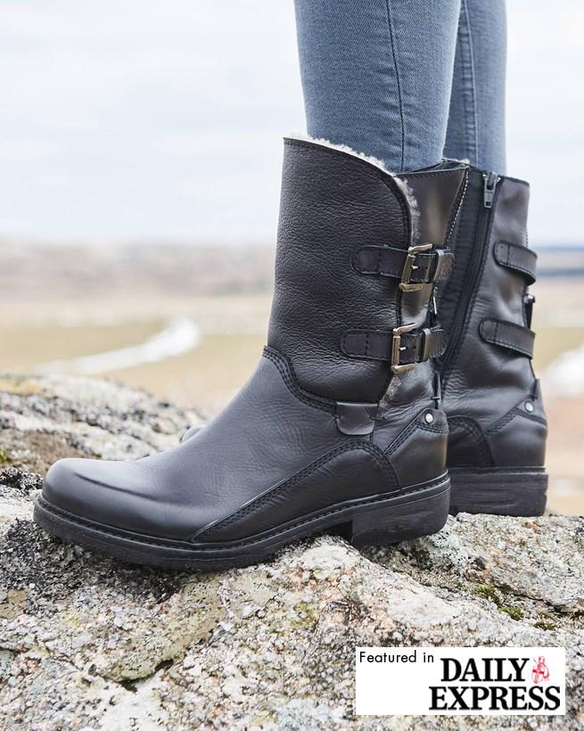 Shearling Biker Boots