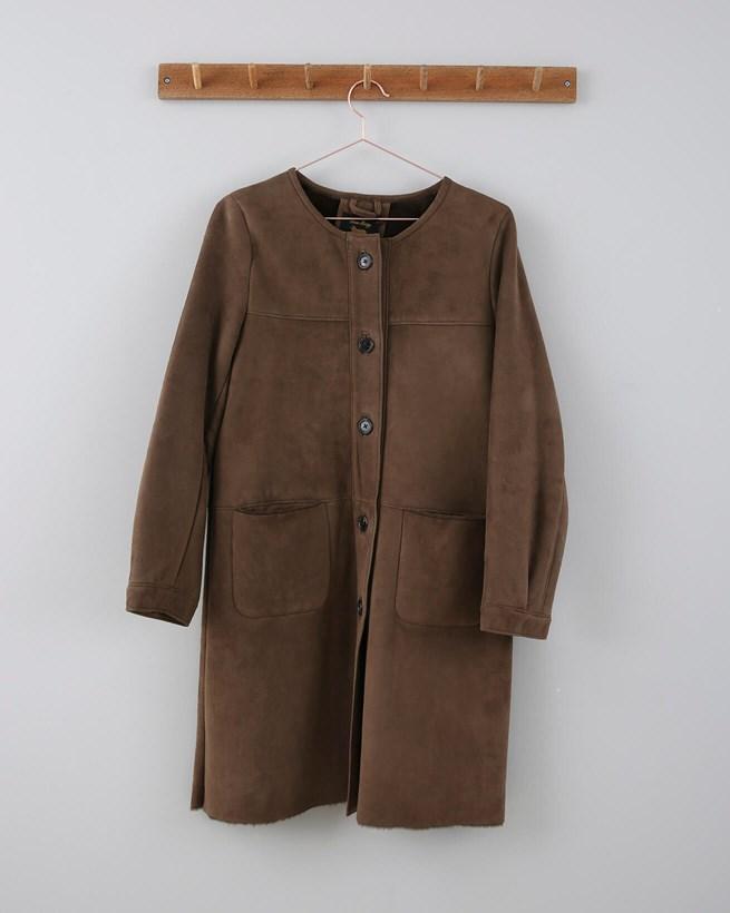 Collarless Sheepskin Coat - Size 10 - Coffee 676