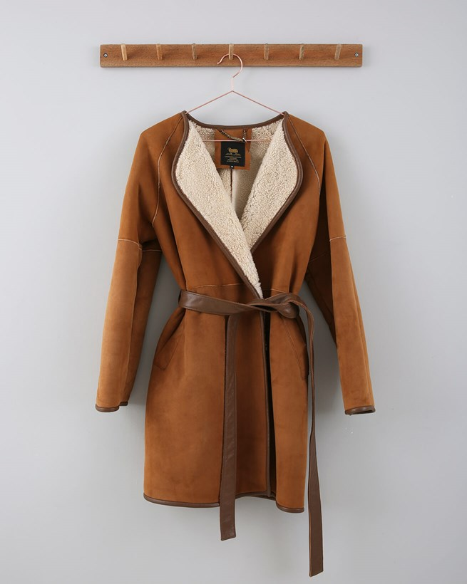 Wrap Leather And Sheepskin Coat - Size 12 - Honey 659