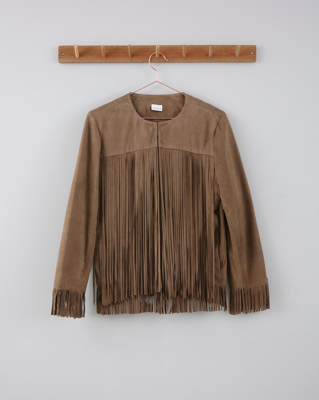 Suede Fringed Jacket  - Size 10 - Tan 647