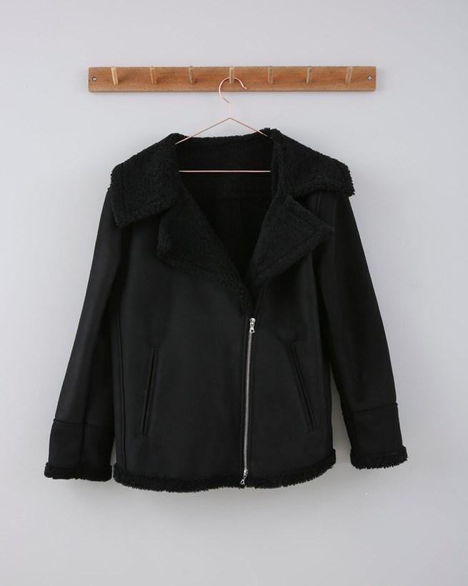 Merino Sheepskin Biker Jacket - Size 12-14 - Black 633