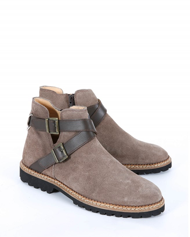Buckle Strap Ankle Boots - Size 37 - Taupe 504