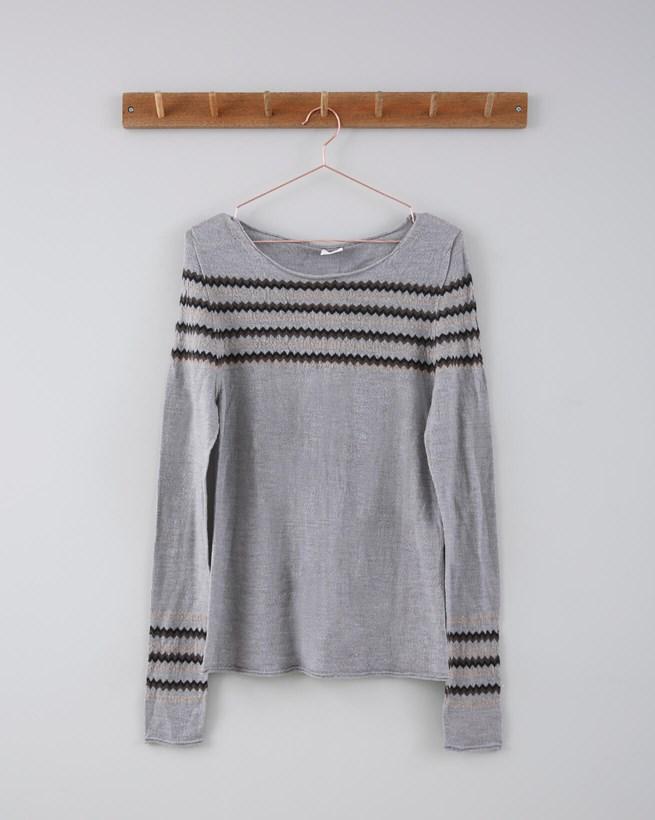 Fine Knit Merino Crew Neck - Size Small - Grey Fairisle 696