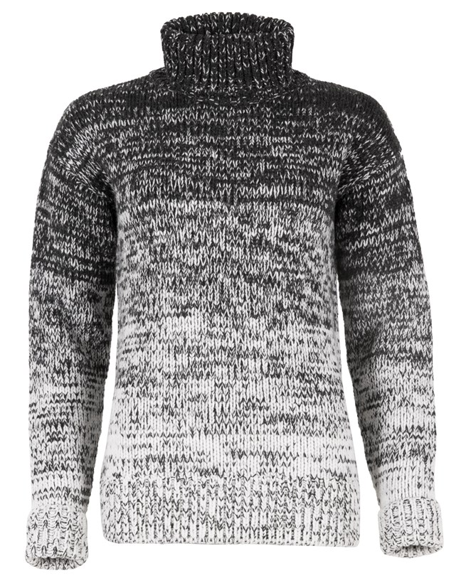Ombre Roll Neck Jumper - Size Large - Grey Twist 705