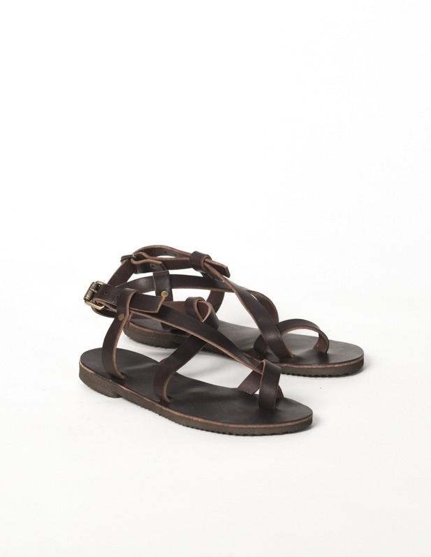Toe Ring Leather Sandals - Size 9 - Mocca 606