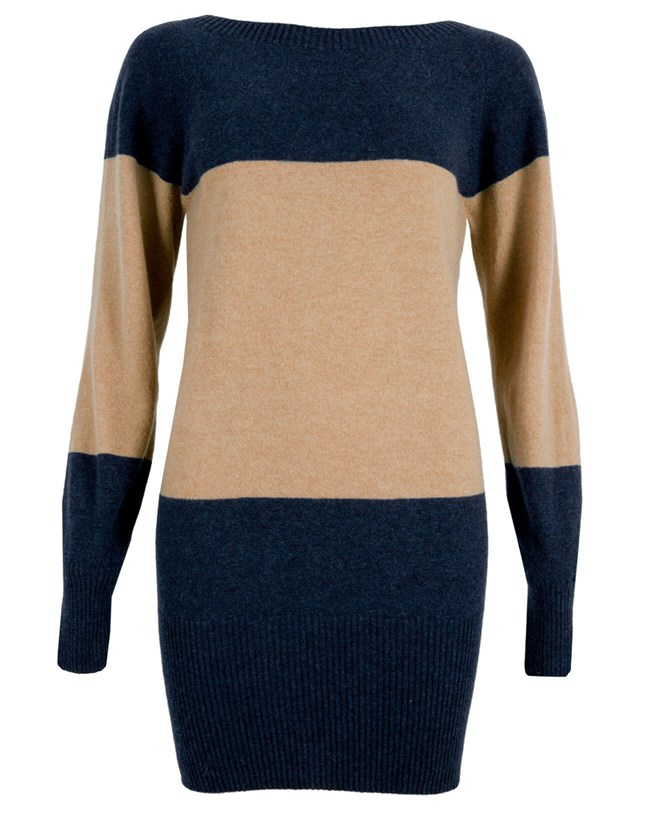 Supersoft Slouch Jumper - Small - Camel Colourblock - 911