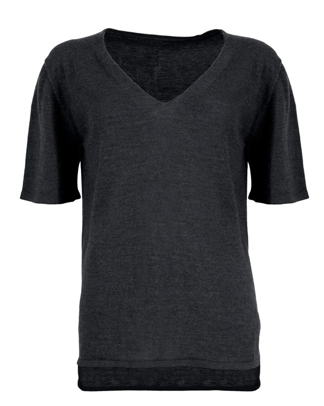 Merino Short Sleeve V Neck - Large - Charcoal - 913