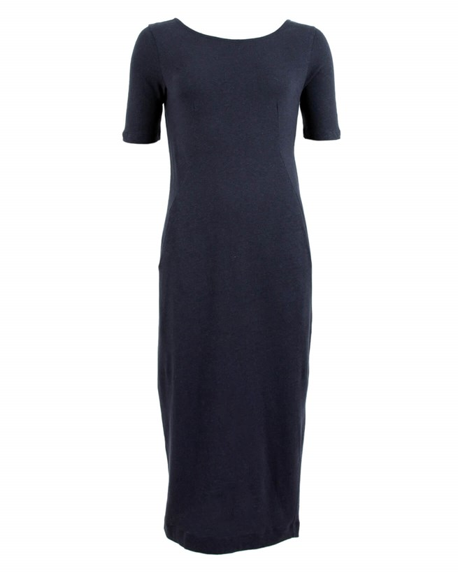 Linen Cotton Button Back Dress - Size 12 - Navy - 927