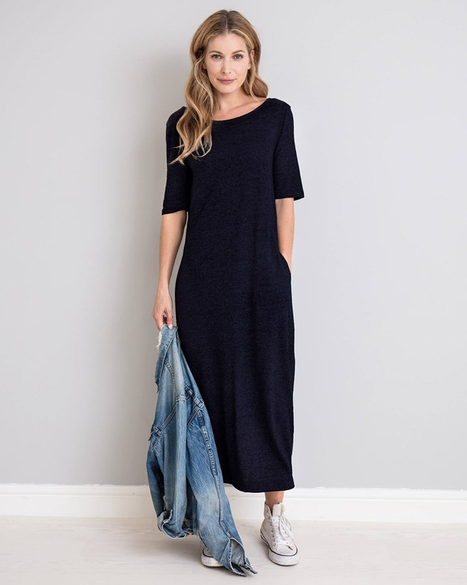 Linen Cotton Button Back Dress